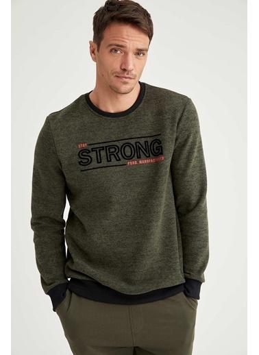 DeFacto Strong Baskılı Bisiklet Yaka Regular Fit Sweatshirt Haki